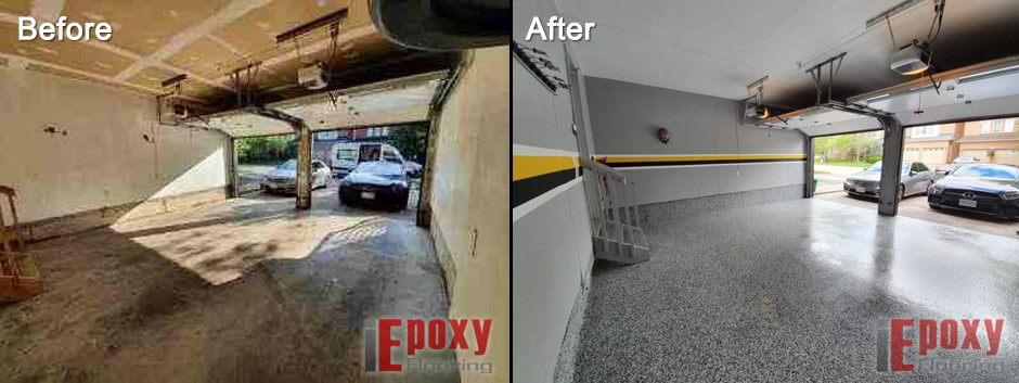 Garage Epoxy Coating Before And After Photo 1