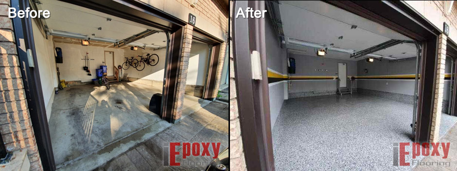 Garage Epoxy Coating Before And After Photo 2