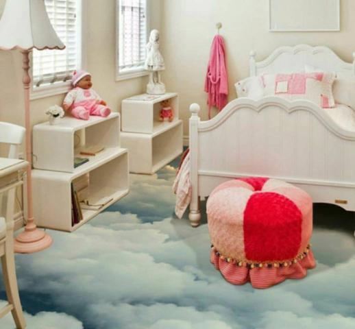 Kids Epoxy Floor Coating Cloud Pattern